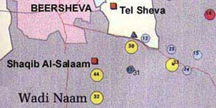 Map of unrecognized villages in the Northern Negev